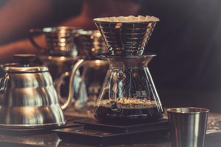 En kaffebryggare i glas.